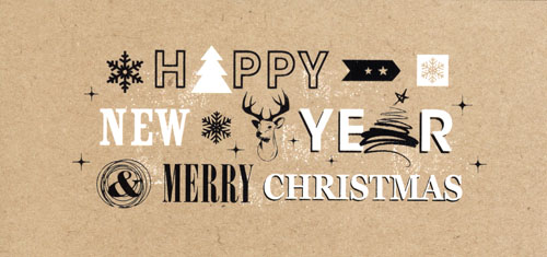 « Happy New Year – Merry Christmas » Graphisme blanc et noir. Fond beige.