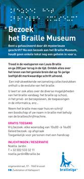 Cover van de flyer: Bezoek het BrailleMuseum